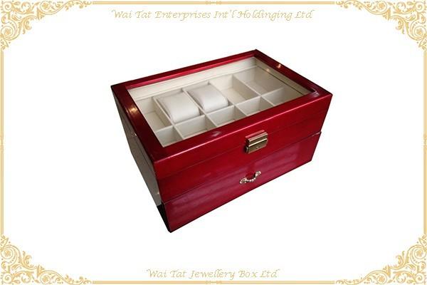 高光木紋噴油手錶木盒 .