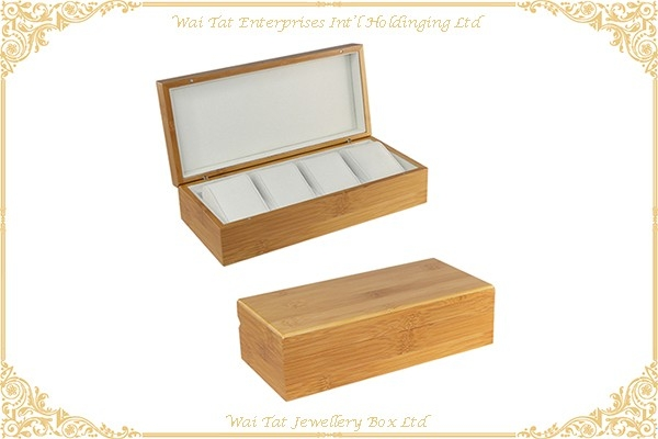 4 Slots Bamboo Watch Box With Hard Pillow