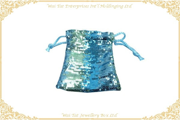 Woven Fabric Jewellery Bag With Sequins