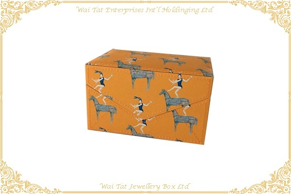 Printed Cloth Wrapped Wood Jewellery Box